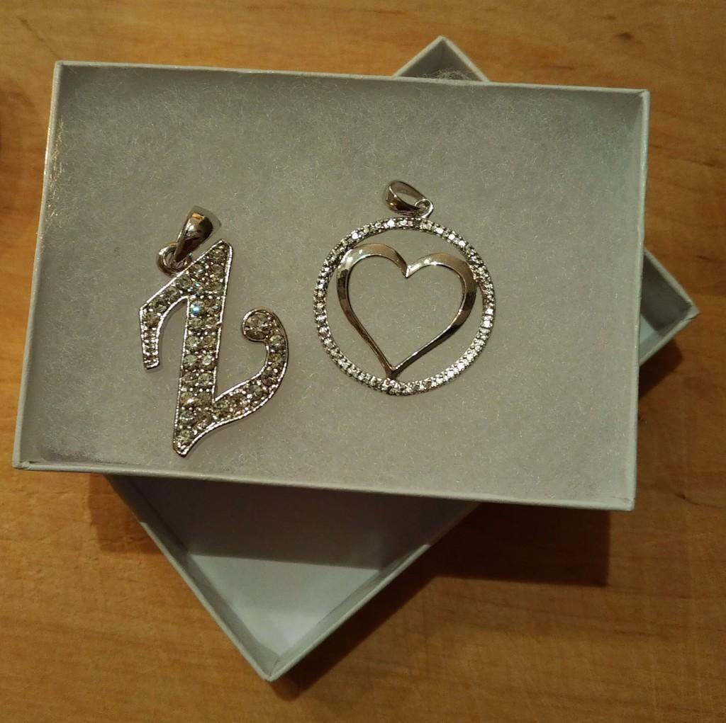 Solveig Zarah Keshavjee's 'Z' pendant and heart pendant.